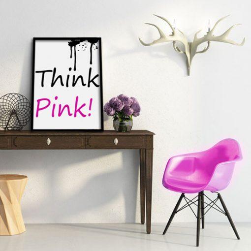 plakat z czarno-różowym napisem