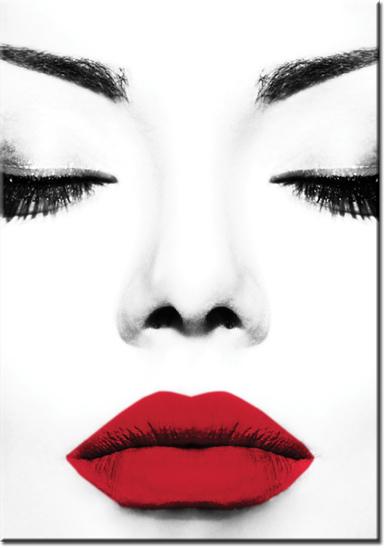 usta czerwone i czarno-biała twarz