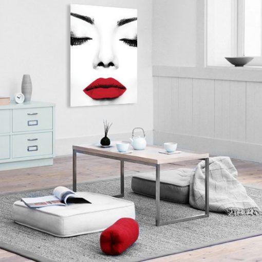 plakat czarno biały i czerwone usta