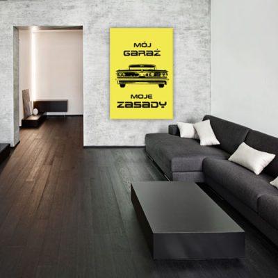 plakat z żółtym tle i czarnym napisem