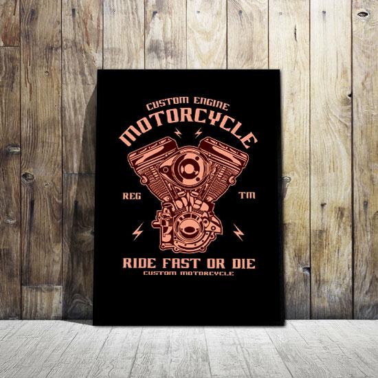 Plakat Z Silnikiem Motocykla