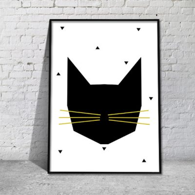 plakaty z grafika kota