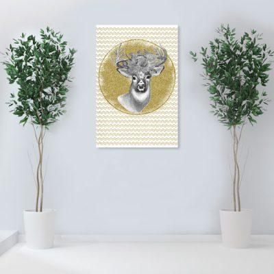 ścienny obraz z jeleniem i kwiatami