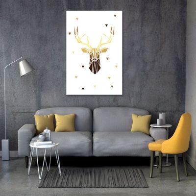 geometryczny obraz z jeleniem