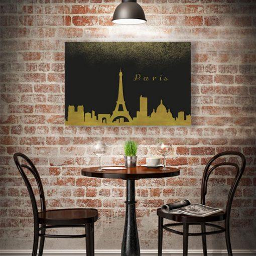 obraz z paryskim krajobrazem w jadalni