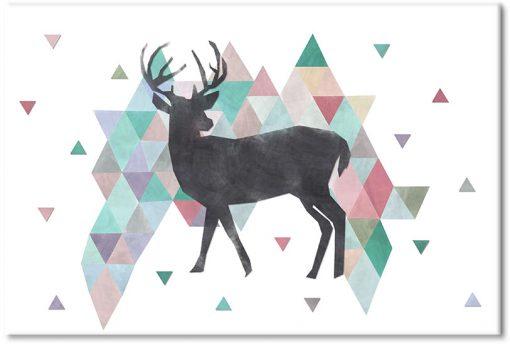 tło korowych trójkąty z jeleniem