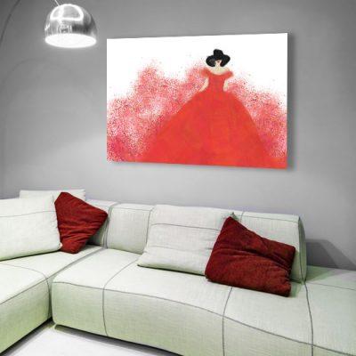czerwona suknie\a z kobietą na obrazie