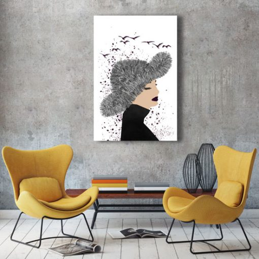 obraz z zamyśloną kobietą