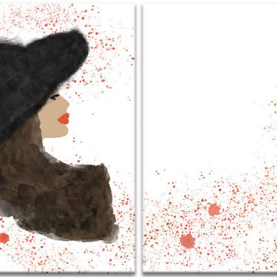 czerwone plamy i kobieta dyptyk