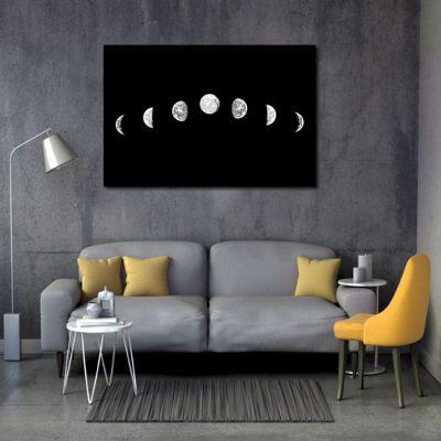 czarno-szare fazy księżyca