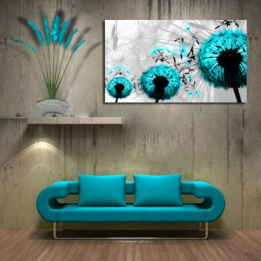 obraz do salonu - turkusowe dmuchawce