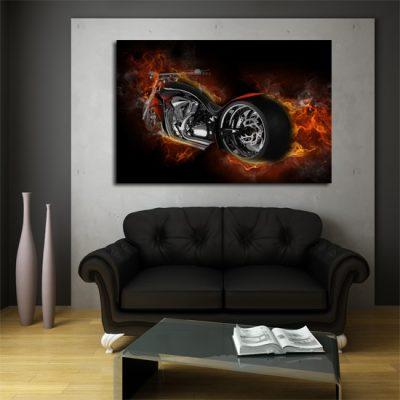 motor w płomieniach - obraz