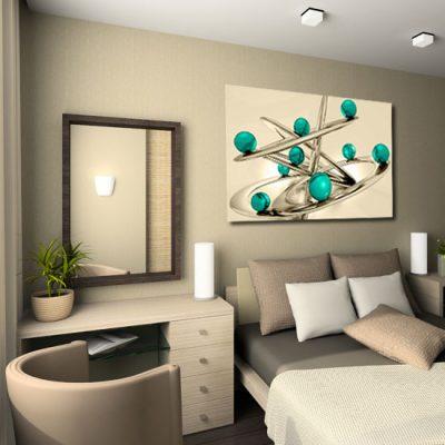 sypialniany obraz z motywem kulek