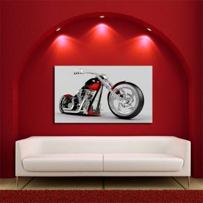 czerwony salon i motor jako obraz