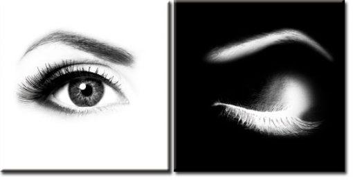 czarno-biała ozdoba w postaci dyptyku