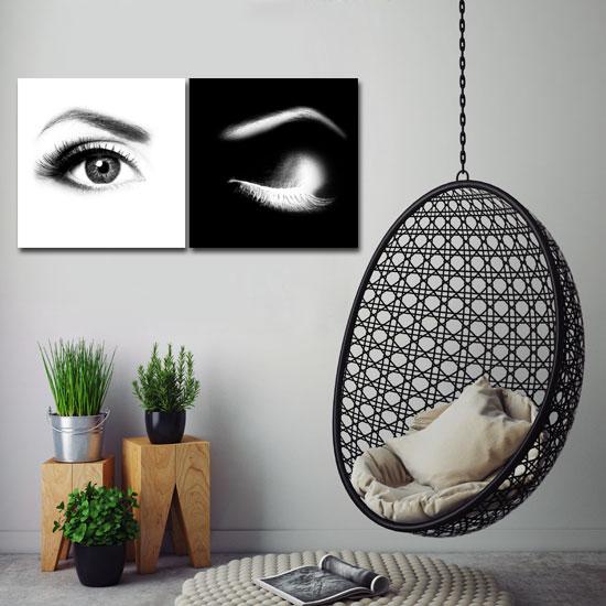 Czarno Biały Dyptyk Z Parą Kobiecych Oczu Do Pokoju