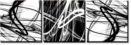 tryptyk z biało-czarnymi kreskami