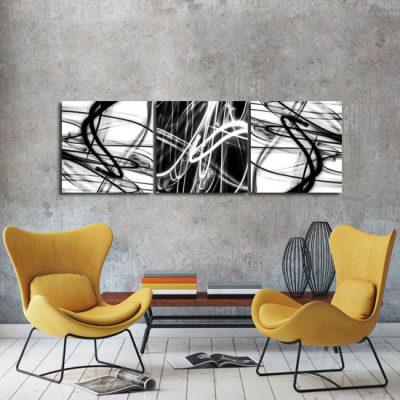 biało-czarne linie do salonu jako tryptyk