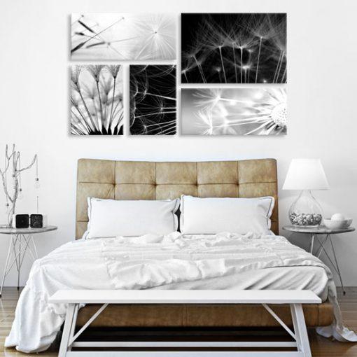 biało-czarne dmuchawce na ścianę