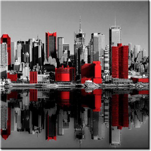 foto-tapeta z widokiem na czerwone budynki