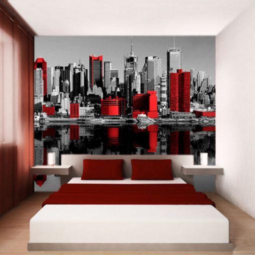tapeta z czerwonymi budynkami w roli głównej