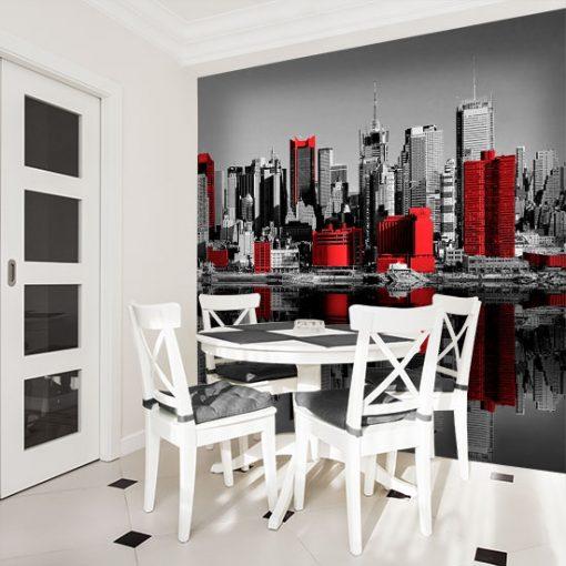 fototapeta z czerwonymi wieżowcami Manhattanu