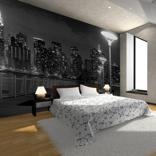 fototapeta z czarno-białym Manhattanem