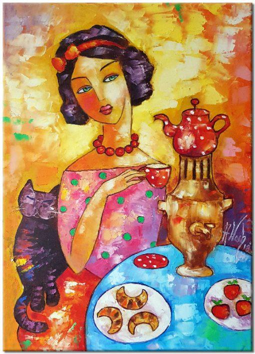 obraz z reprodukcją dziewczyna z kotem