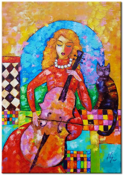 obraz kobieta z kotem