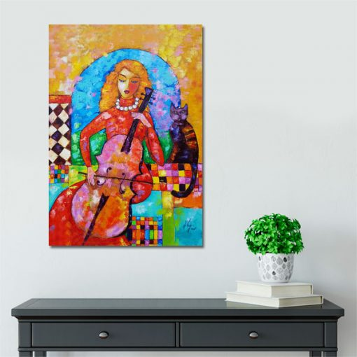 kolorowe obrazy wiolonczelistka i kotek