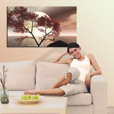 salonowa dekoracja z motywem oceanu