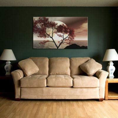 dekoracja do salonu z drzewem i wodą