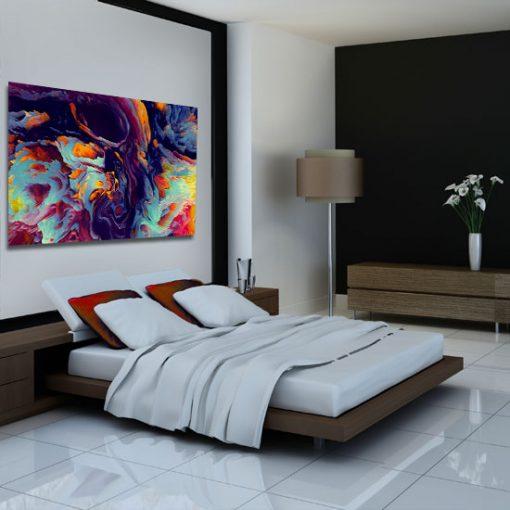 abstrakcja w sypialni na obrazie
