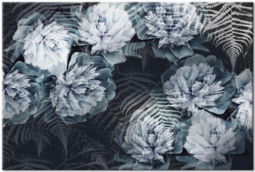 liście paproci i kwiaty na obrazie