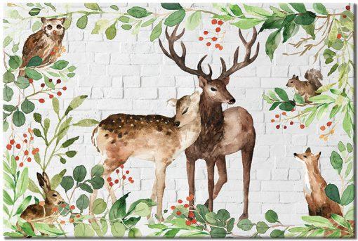 zielono-brązowy obraz ze zwierzętami