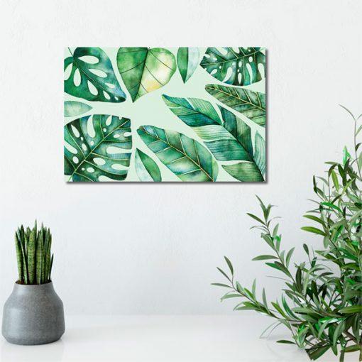 zielone liście na obrazie do salonu