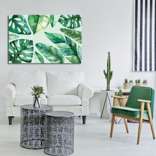 motyw z zielonymi liśćmi jako obraz