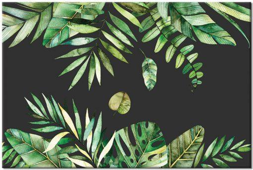 obraz czarno-zielony z liśćmi