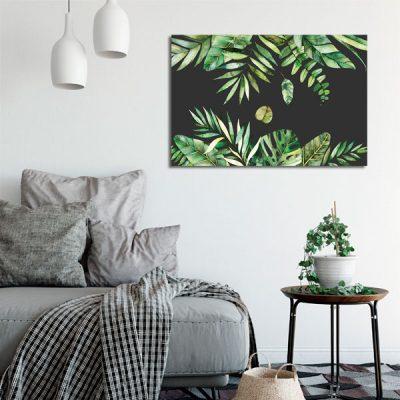 czarno-zielony obraz z liśćmi