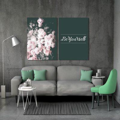 dyptyk bukiet kwiatów i napis