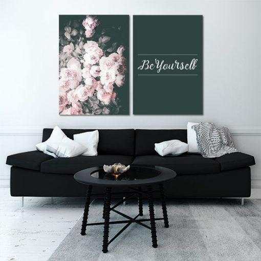 dyptyk bukiet kwiatów i napis be yourself