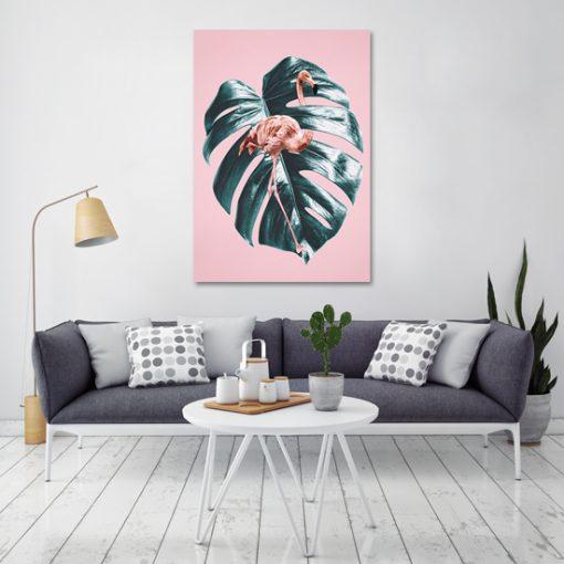 obraz z liściem i flamingiem do salonu