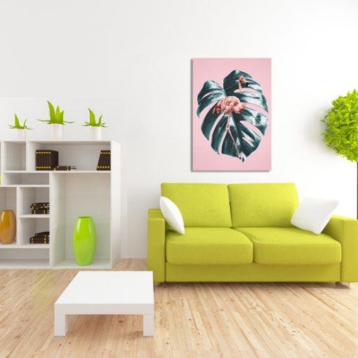 obraz z flamingiem i liściem
