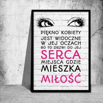czarne, kobiece oczy na plakacie