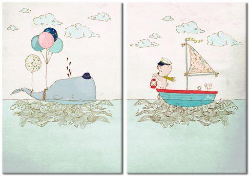 miś i wieloryb na plakacie