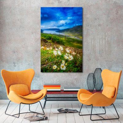 kwiaty i jezioro jako obraz