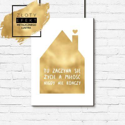 Plakat złoty miłość i dom