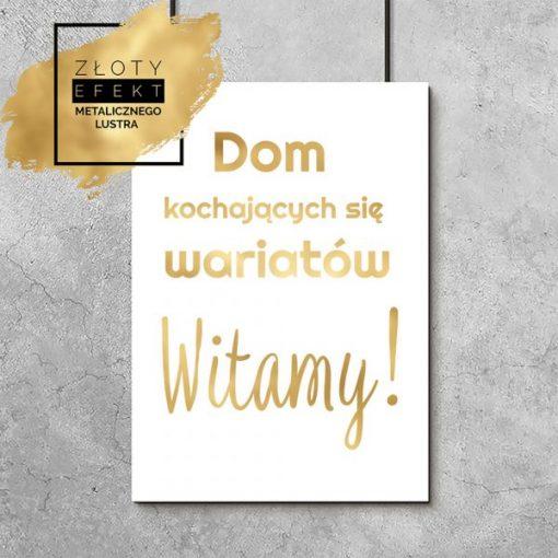 Plakat dom kochających się wariatów złoty