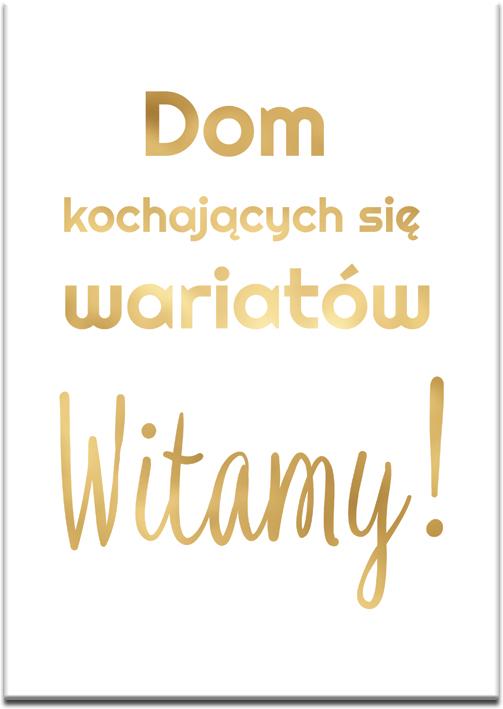 złoty plakat do salonu lub przedpokoju