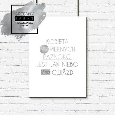 Plakat srebrny do salonu kosmetycznego